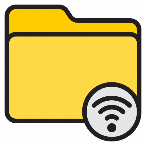 doc, document, file, folder, wifi icon