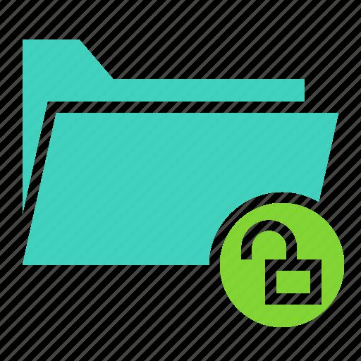 document, file, folder, ui, unlock icon