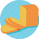 bakery, bread, bread loaf, breakfast, wheat food icon