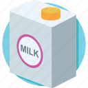 dairy, milk box, milk carton, milk container, milk pack icon
