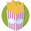 chips, french fries, fries, fries box, frites icon