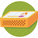 fire, kitchen tool, match fire, matchbox, matches icon