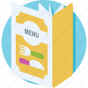 cuisine, deal, food menu, menu, menu book icon
