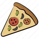 edible, fast food, pizza slice, savoury dish, snack icon