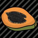 half cut papaya, healthy fruit, papaya, seed fruit, tropical fruit icon
