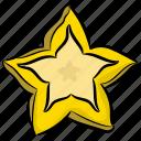 biscuit, food, food item, fruit, snack, star cookie, star fruit icon