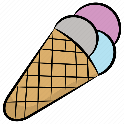 ice cone, ice cream, ice lolly, summer dessert, sundae icon