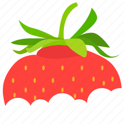 bite, food, food icon, strawberry, strawberry icon icon
