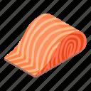 fish, food, fresh, isometric, object, piece, salmon