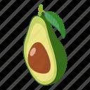 avocado, cut, food, fruit, half, isometric, object