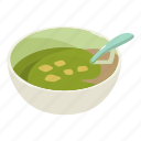 bowl, broth, food, hot, isometric, object, soup