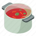 bowl, broth, food, isometric, object, soup, tomato