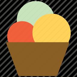 balls, cup, ice cream, sweet icon