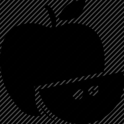 apple, food, fruit, leaf, piece icon