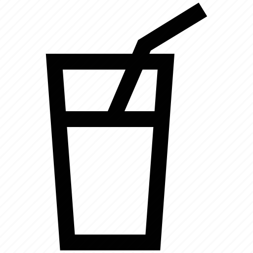 drink, glass, juice, straw, water, water glass icon