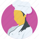 chef, cook, girl, woman, woman chef icon