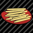 fast food, french fries, fried potatoes, fries, potato sticks, snacks icon