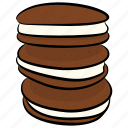bakery item, biscuits, chocolate cookie, cookies, snack icon