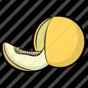 cantaloupe, food, fruit, melon, yellow melon icon