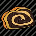 cream roll, dessert, jelly roll, sponge cake, swiss roll icon