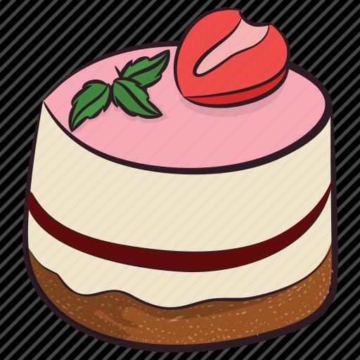 bakery item, birthday cake, dessert, strawberry cake, sweet icon