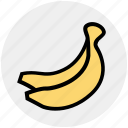 banana, food, fresh, fruits, healthy, vitamin icon