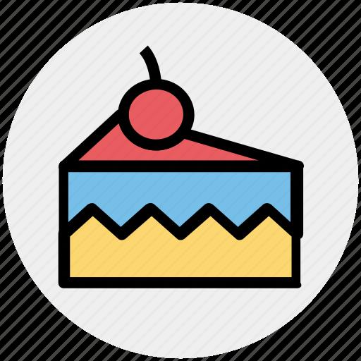 cake, cake piece, cake slice, cherry, food, fresh cake, slice icon
