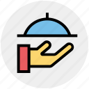 cooking, food, hand, platter, restaurant, serving, waiter icon