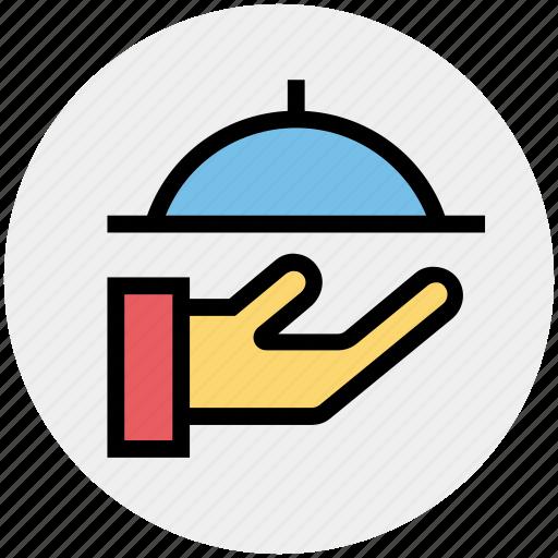 cooking, food, hand, platter, restaurant, serving, waiter icon