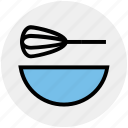 beater, bowl, egg, food, hand beater, hand mixer, mixer icon