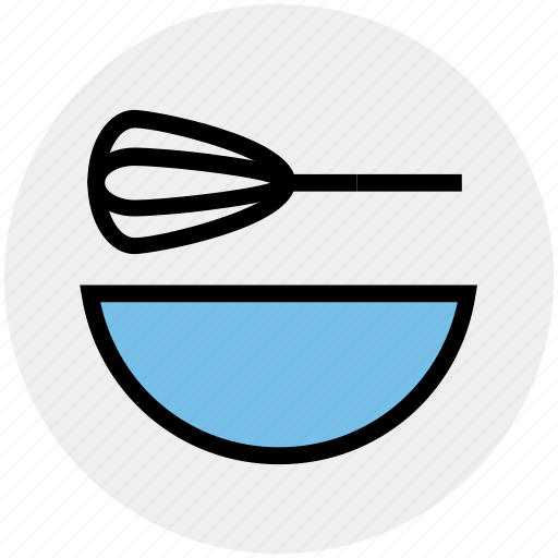 beater, bowl, egg, food, hand beater, hand mixer, mixer icon