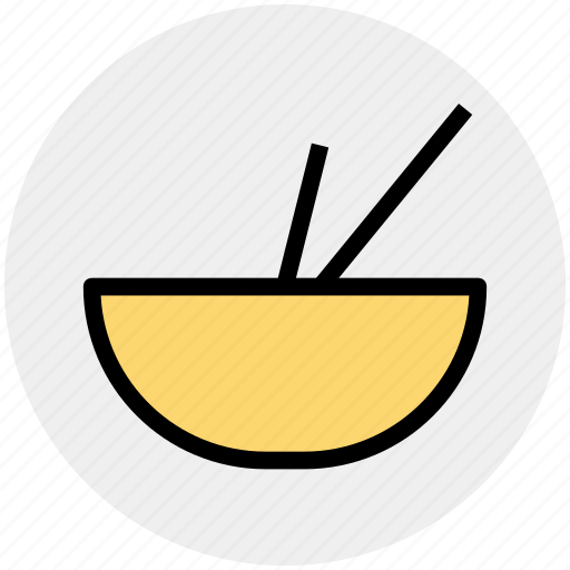 bowl, bowl and sticks, chinese, eat, food, soup, sticks icon