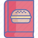 burger recipe, cookbook, cooking book, cooking guide icon