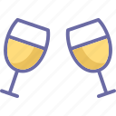 champagne glasses, cheers, party, toasting icon