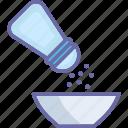adding salt, cooking, food bowl, salt shaker icon