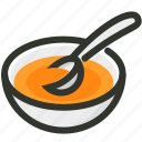 appetizer, bowl, dish, food, soup, spoon icon