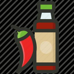 bottle, chili, chilli, hot, sauce, spice icon