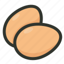 breakfast, egg, eggs, eggshell, food, poultry icon