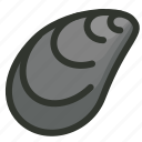 food, mollusk, mussel, seafood, shell icon