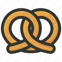 appetizer, breakfast, pastry, pretzel, snack icon