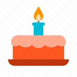 birthday, cake, candle, dessert, sweet icon