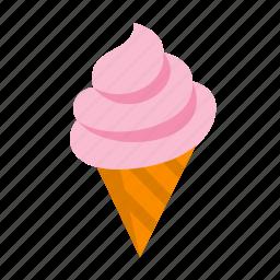 cone, cream, dessert, ice, icecream, strawberry, sweet icon