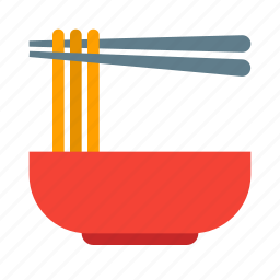 bowl, chinese, chopsticks, noodle, noodles, pasta, soup icon