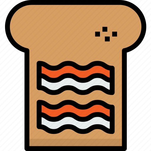 bacon, bakery, bread, food, with icon