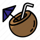 coconut, coconut water, drink, food icon