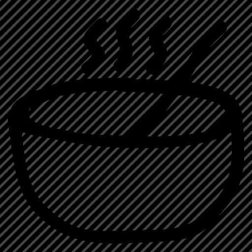 bowl, food, service, soup, spoon icon