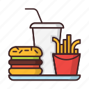 beverage, fastfood, french, fries, hamburger, soda icon