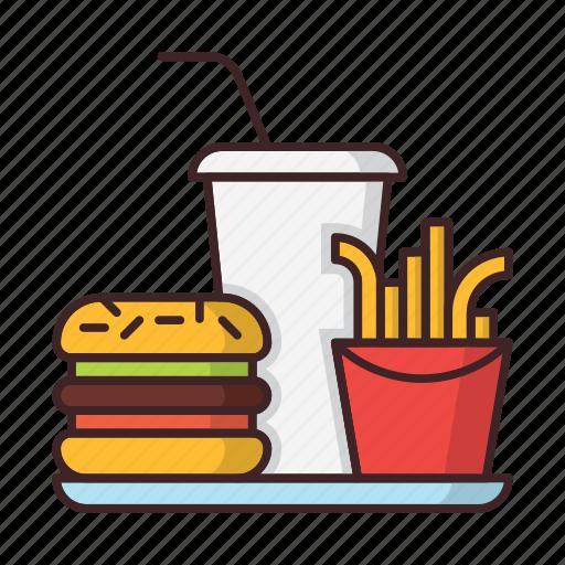 beverage, fastfood, french, fries, hamburger, soda icon