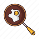 breakfast, eggs, food, pan, scrambled icon