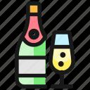 champagne, bottle, glass